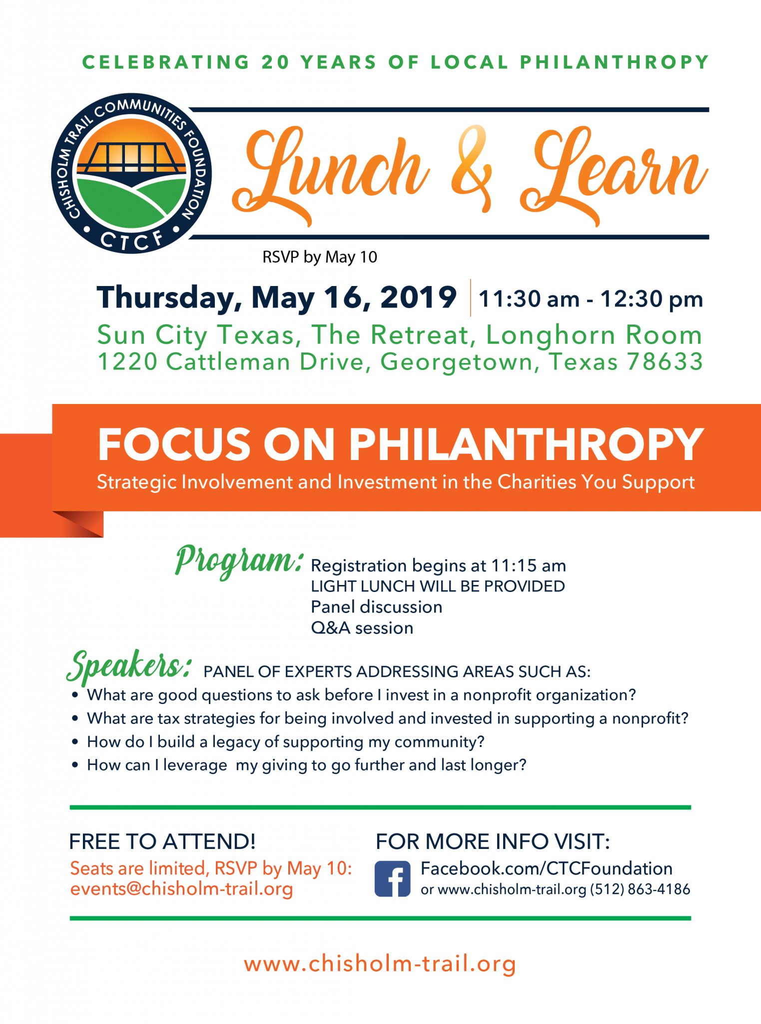 Lunch & Learn flyer - RSVP by May 10